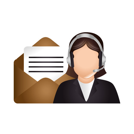 business phone: avatar woman with headset and envelope icon. call center and customer support. vector illustration