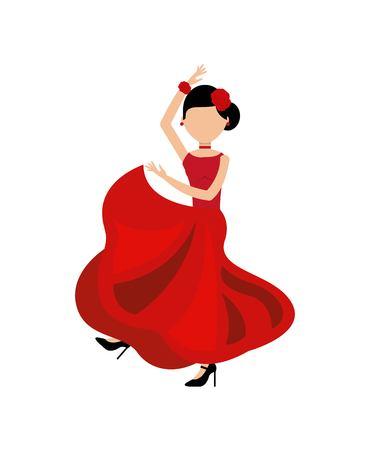 bailando flamenco: la mujer del baile flamenco clásico icono de la cultura española ilustración vectorial de diseño