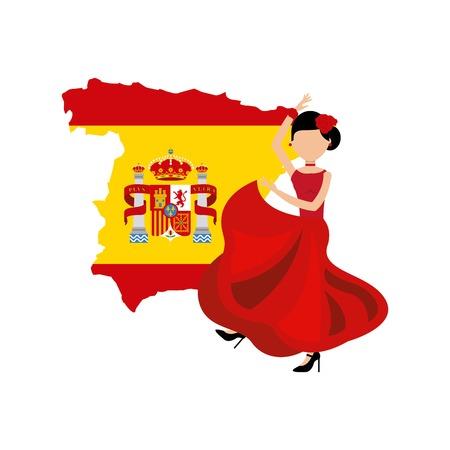 spanish woman: woman dancing flamenco classic icon of Spanish culture vector illustration design