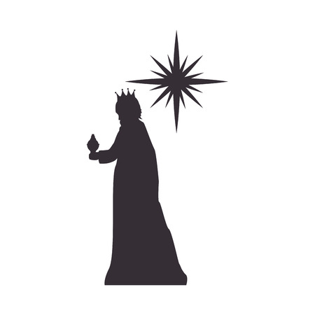 melchior: magi man king and sparkle star. silhouette vector illustration