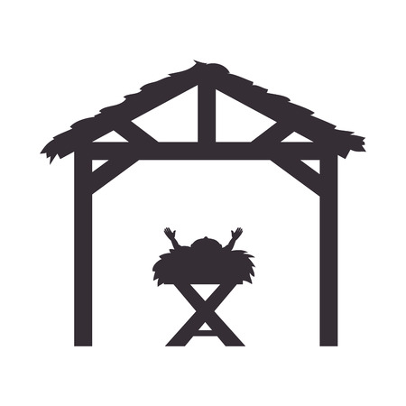 baby jesus in a manger traditional scene. silhouette vector illustration Vectores