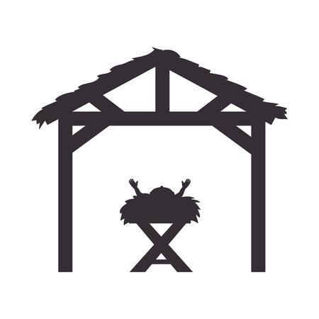 gesù bambino in una scena tradizionale mangiatoia. illustrazione vettoriale silhouette Vettoriali