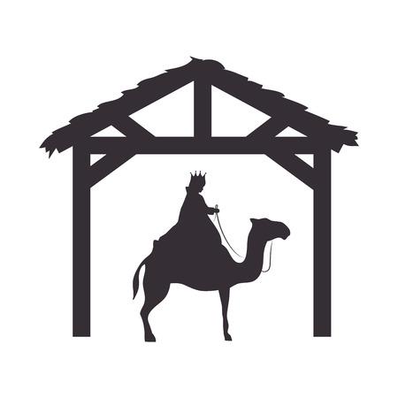 three kings: magi king man riding a camel. nativity silhouette design. vector illustration