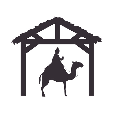 balthazar: magi king man riding a camel. nativity silhouette design. vector illustration