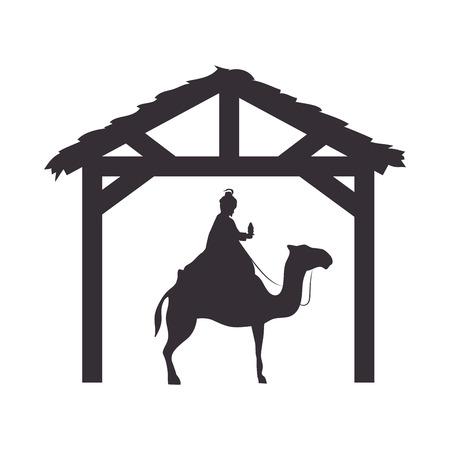 caspar: magi king man riding a camel. nativity silhouette design. vector illustration