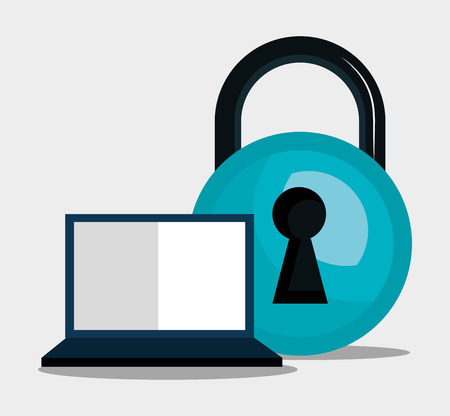 laptop computer and blue padlock. informatic security system vector illustration