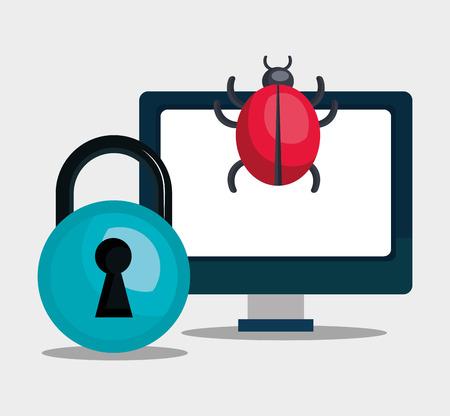 virus informatico: monitorear la computadora con virus informático y candado azul. diseño colorido. ilustración vectorial