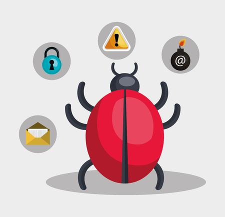 virus informatico: establece virus informáticos icono del sistema de alerta de seguridad. diseño colorido. ilustración vectorial Vectores
