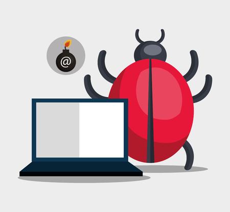virus informatico: computadora portátil y virus de alerta informática. ilustración vectorial Vectores