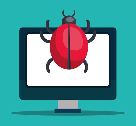 virus informatico: Monitor con virus informático. Diseño colorido. Ilustración vectorial