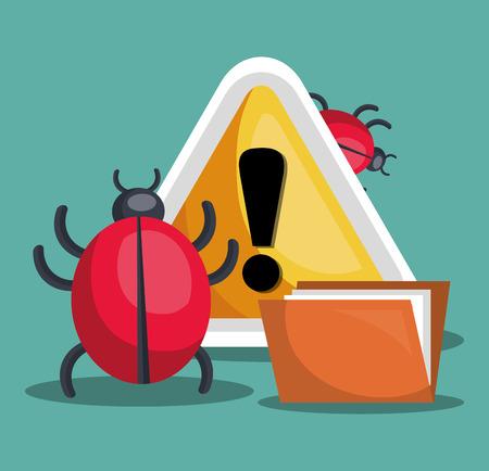 virus informatico: muestra de la alarma y sistema de seguridad de alerta de virus informático. diseño colorido. ilustración vectorial