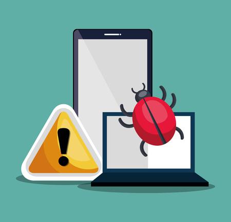 virus informatico: el ordenador portátil y el teléfono inteligente con sistema de seguridad de alerta de virus informático. diseño colorido. ilustración vectorial