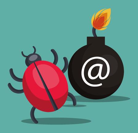 virus informatico: virus informático informático y el icono del sistema de seguridad de alerta. diseño colorido. ilustración vectorial
