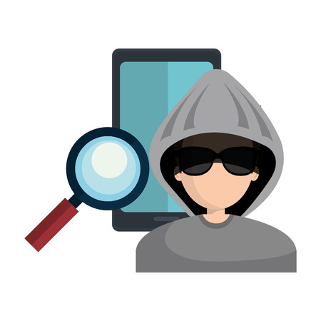 smartphone with magnifying glass and avatar man hacker. vector illustration