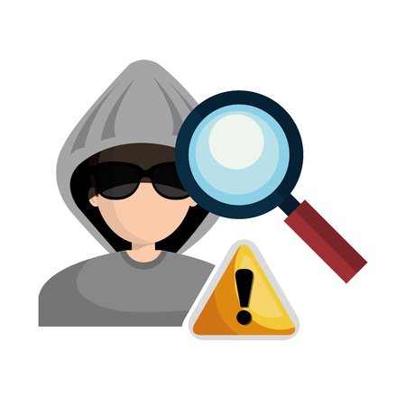 magnifying glass and  avatar man hacker and informatic alert security system design. vector illustration