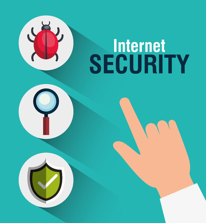 malware: virus alert internet security system icon set. colorful design. vector illustration Illustration