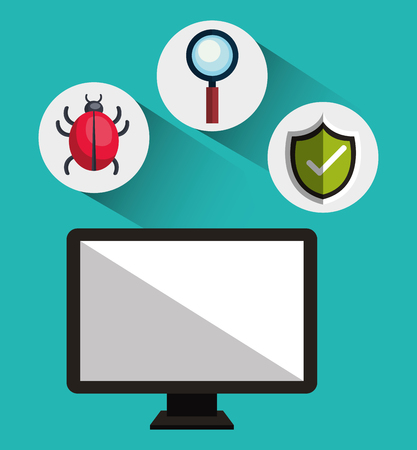 virus informatico: monitor de ordenador con virus informáticos y el icono del sistema de seguridad conjunto de alerta. diseño colorido. ilustración vectorial Vectores