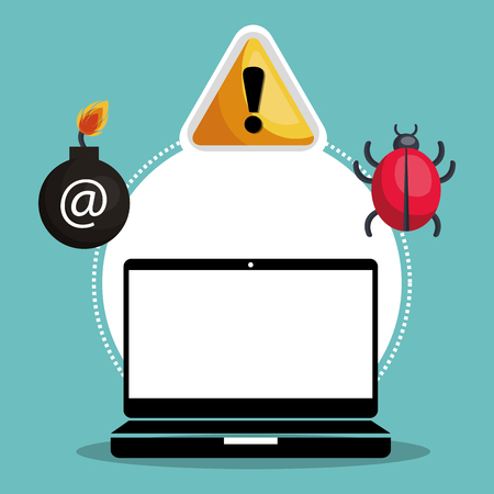 malware: laptop computer and informatic alert security system icon set. colorful design. vector illustration Illustration
