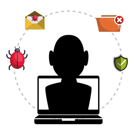 laptop and avatar man hacker and informatic alert security system icon set. colorful design. vector illustration