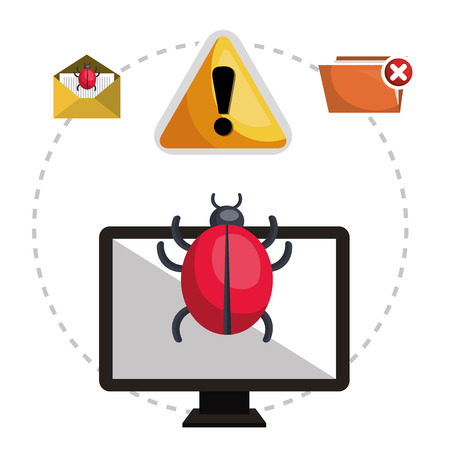 monitor computer with informatic virus and alert security system icon set. colorful design. vector illustration Illustration