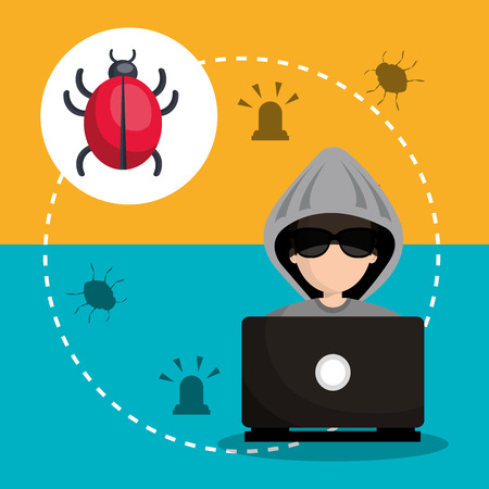laptop and avatar man hacker with virus alert security system icon set. colorful design. vector illustration Illustration