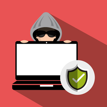 stealing data: laptop and avatar man hacker and informatic security system design. vector illustration