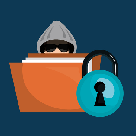 stealing data: binder and avatar man hacker and documents security system design. vector illustration