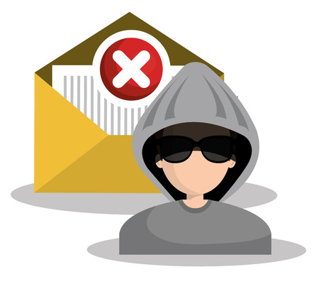 stealing data: message envelope and avatar man hacker and security system design. vector illustration