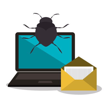 virus informatico: virus y ordenador portátil y el diseño del sistema de alerta de seguridad informática. ilustración vectorial