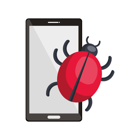 smartphone portable device and cyber virus icon. vector illustration