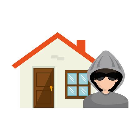 thug: avatar man thief and house property. vector illustration