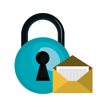 blue padlock closed with opened envelope icon. vector illustration