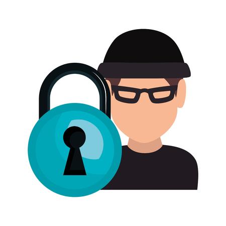 villain: avatar man thief wearing black clothes and  blue padlock icon. vector illustration