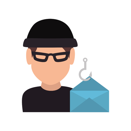 felon: avatar man thief wearing black clothes and  blue envelope icon. vector illustration