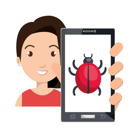 cyber woman: avatar woman smiling holding a smartphone device with cyber virus icon on screen. vector illustration Illustration