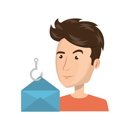 avatar man person with opened envelope icon. vector illustration