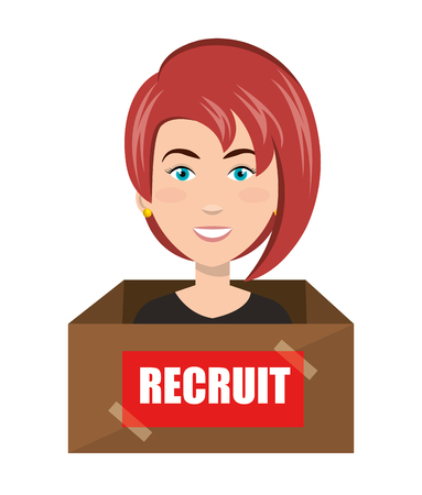 recruit: avatar woman recruit inside a box. human resource theme. colorful design. vector illustration