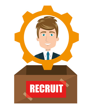 recruit: avatar man recruit inside a box. human resource theme. colorful design. vector illustration