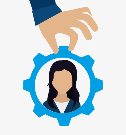recruit: hand choosing a avatar woman inside a gear. recruit human resource theme. colorful design. vector illustration