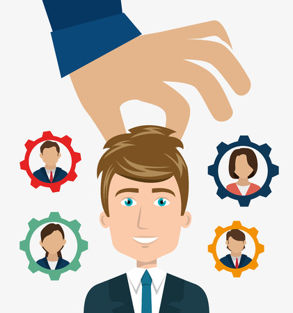 recruit: persons inside gear and hand choosing a avatar man. recruit human resource theme. colorful design. vector illustration