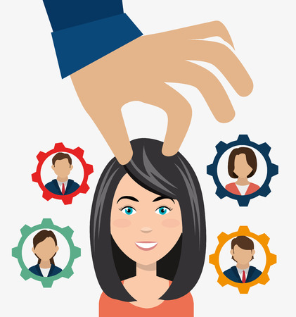 recruit: persons inside gear and hand choosing a avatar woman. recruit human resource theme. colorful design. vector illustration