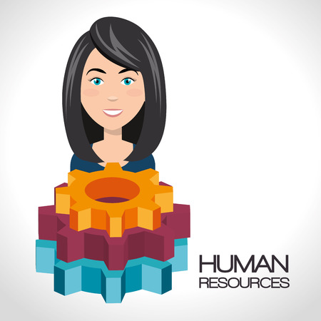 avatar woman smiling and colorful gears. human resources design. vector illustration