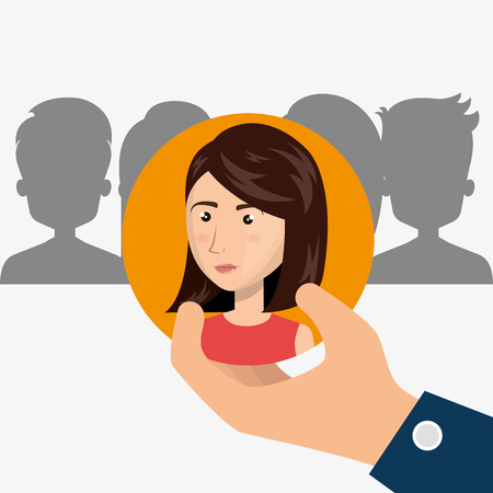 recruit: hand holding a avatar woman over orange circle. recruit human resource theme. colorful design. vector illustration