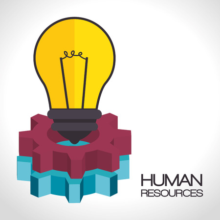 yellow bulb light and colorful gears. human resources design. vector illustration Illustration