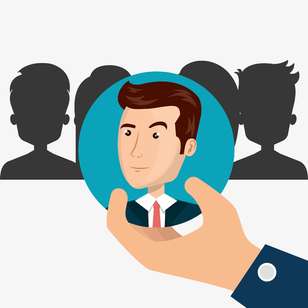 recruit: hand holding a avatar man over blue circle. recruit human resource theme. colorful design. vector illustration