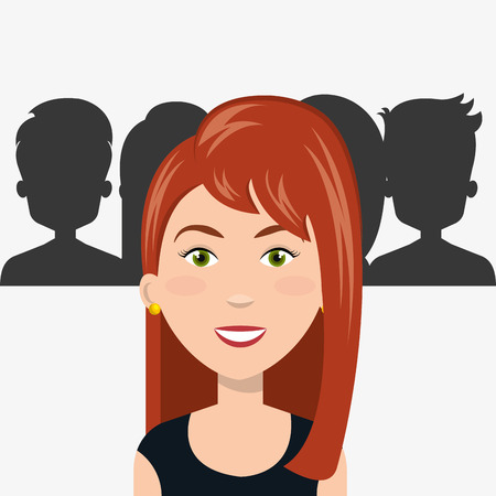 avatar woman smiling and people silhouettes behind. human resources theme. vector illustration Illustration