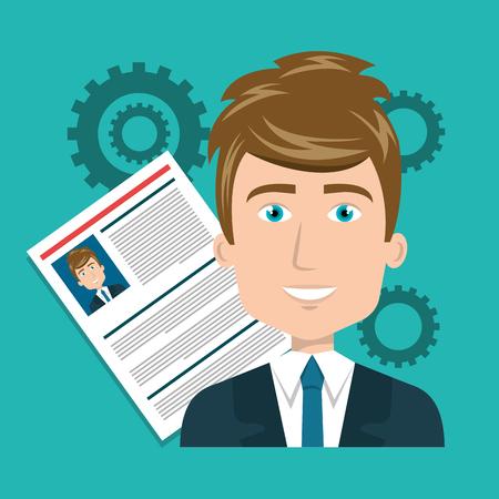 illustraiton: avatar man smiling wearing suit and tie with curriculum vitae document. colorful design. vector illustraiton Illustration