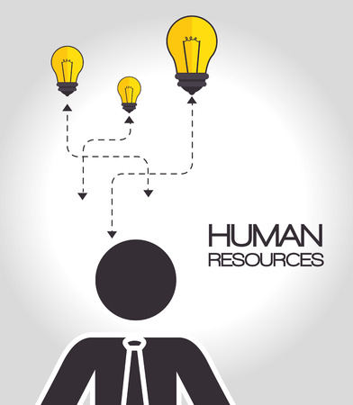 yellow bulb: avatar businessman wearing tie and yellow bulb lights. human resources design. vector illustration