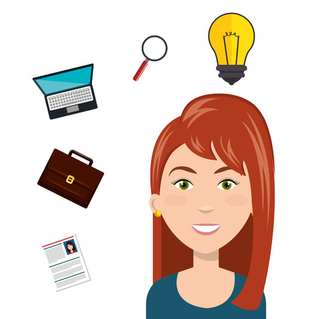 trainee: avatar woman smiling with human resources icon set. colorful design. vector illustration
