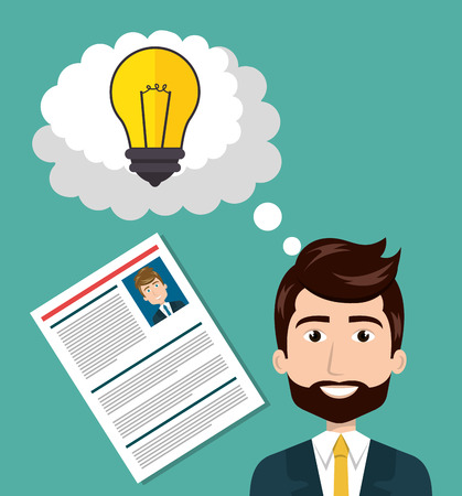 illustraiton: avatar man smiling wearing suit and tie with curriculum vitae document and bulb light inside speech bubble. colorful design. vector illustraiton
